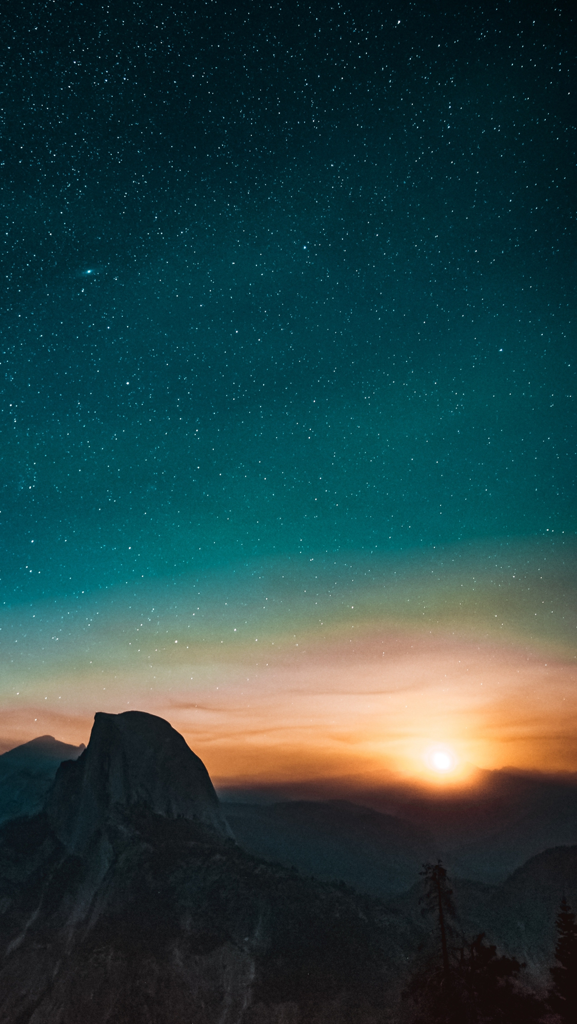 Yosemite National Park Night Sky View iPhone X Wallpaper