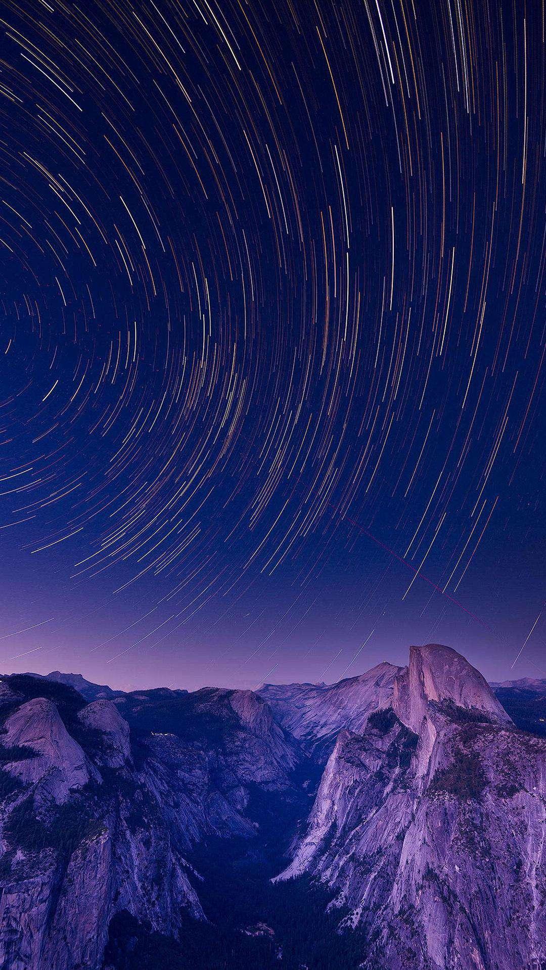 Yosemite Valley Sky Stars Long Exposure iPhone Wallpaper