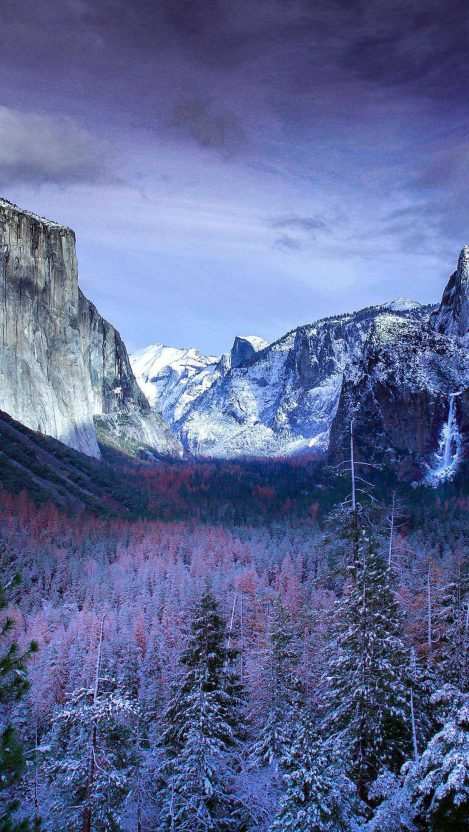 Yosemite Valley in Winter iPhone Wallpaper