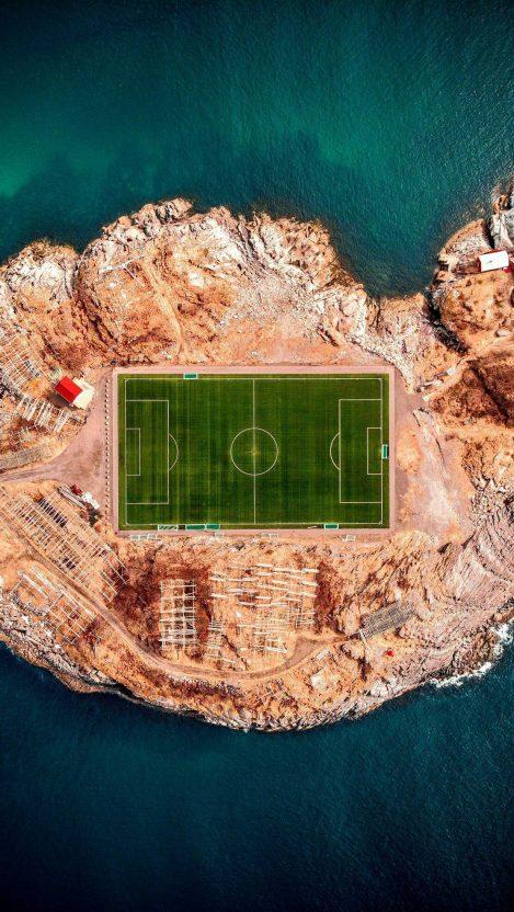 Football Stadium in Henningsvær iPhone Wallpaper