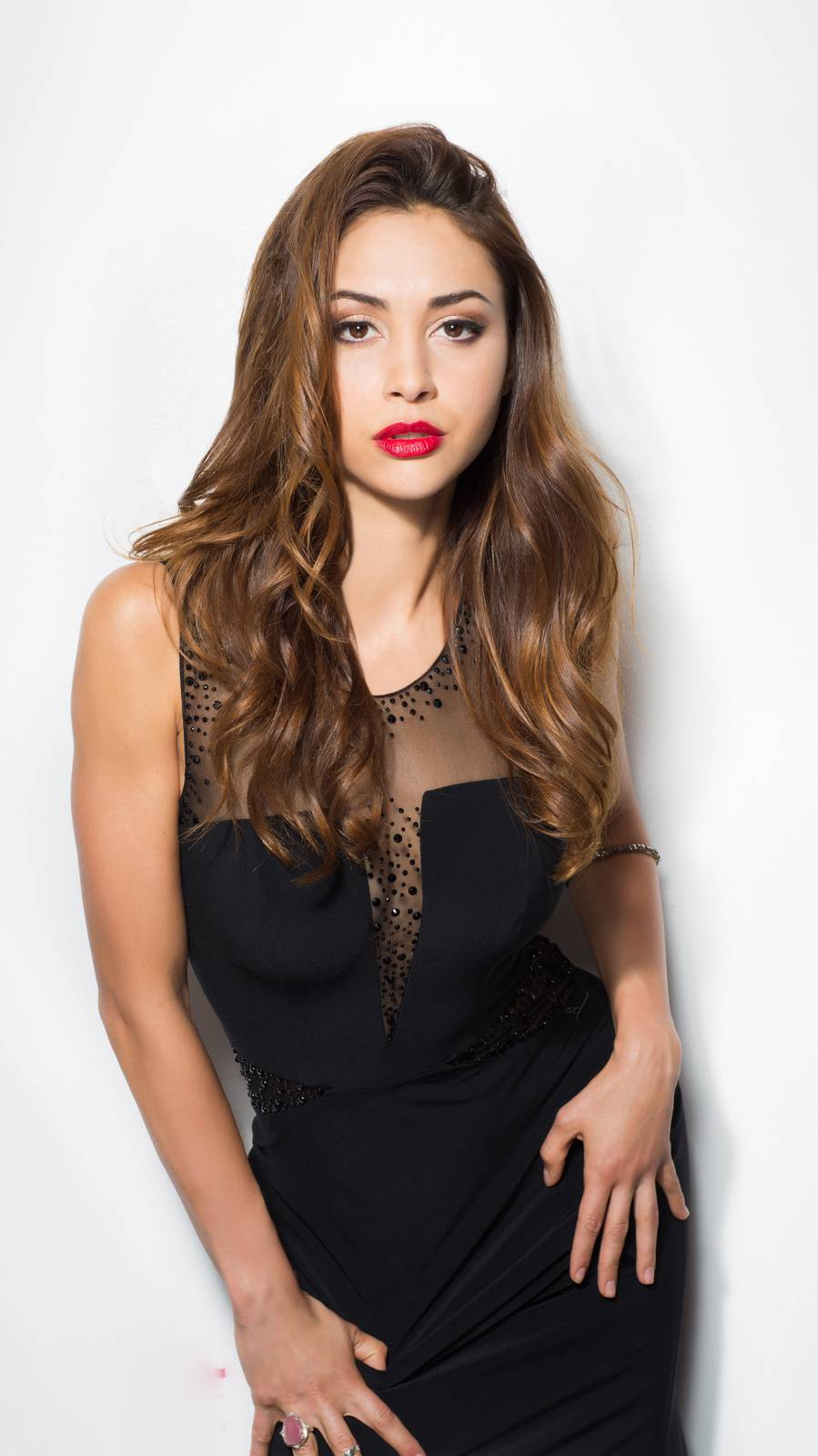 Lindsey Morgan Red Lips Brunette iPhone Wallpaper