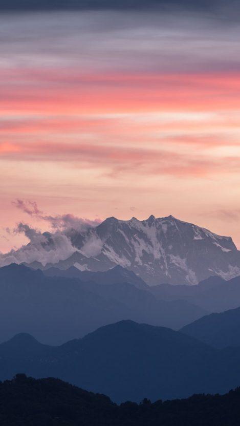 Mountains Sunset Sky Cloud iPhone Wallpaper