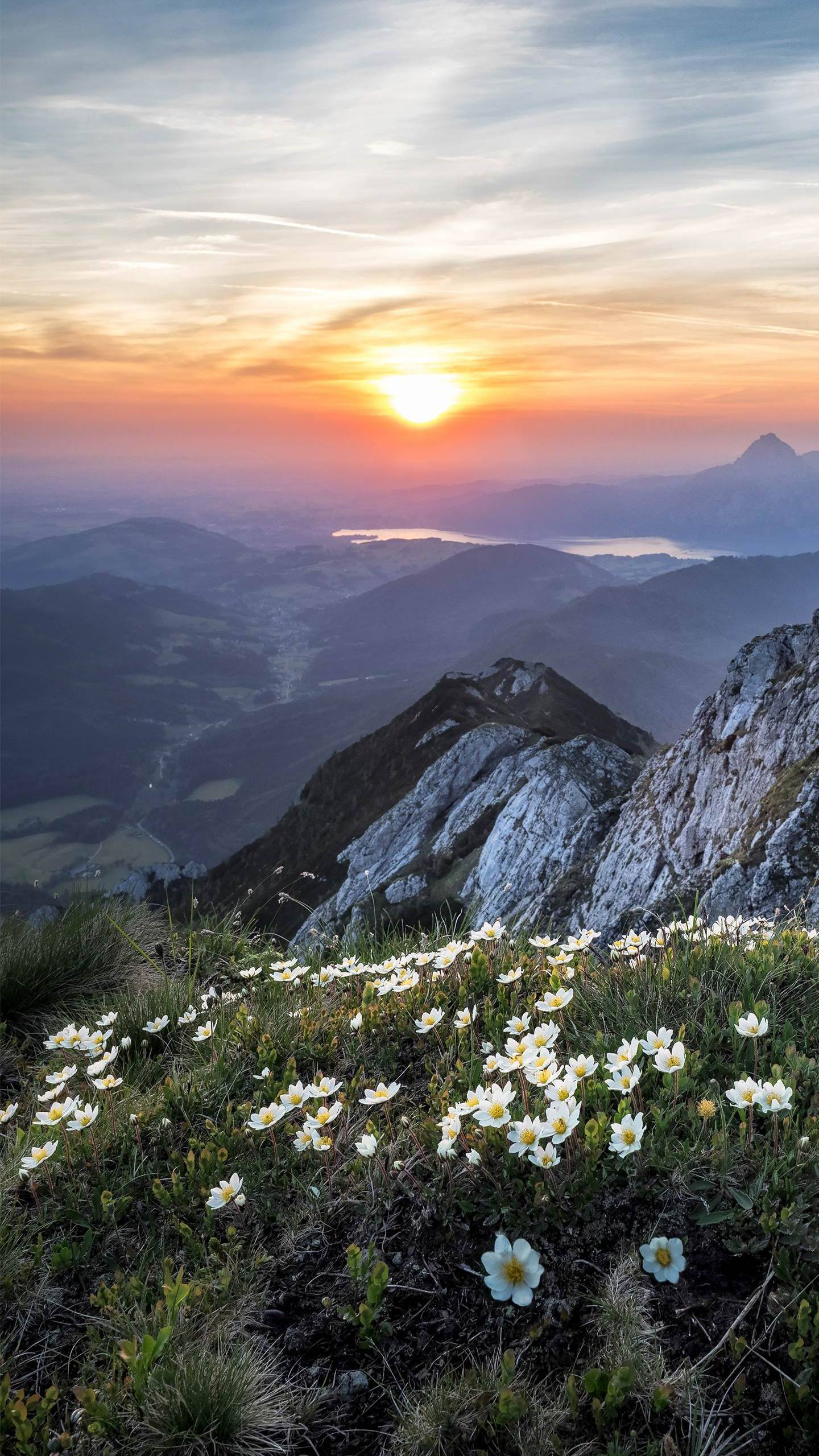 Nature Beautiful Sunrise City from Mountain iPhone Wallpaper