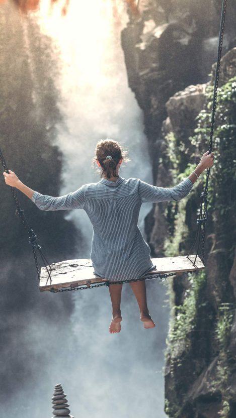 Nature Waterfall Girl Swing iPhone Wallpaper