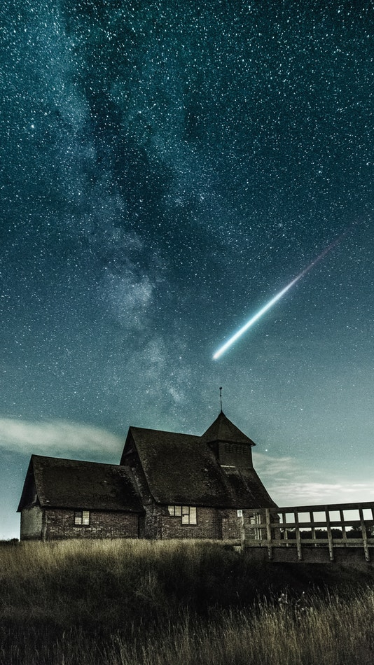Old House Shooting Star Galaxy View Sky iPhone Wallpaper
