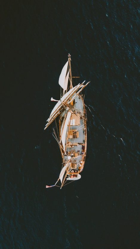 Old Ship in Sea iPhone Wallpaper