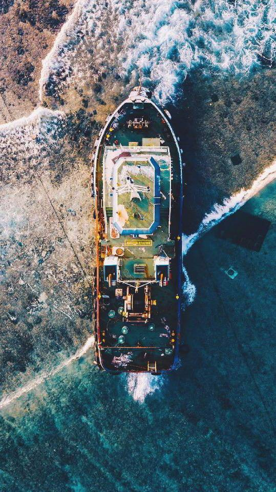 Rusted Ship on The Shore Ocean Nature iPhone Wallpaper