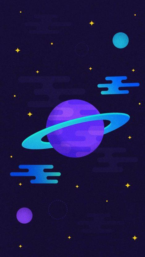 Saturn Planet Art Minimal iPhone Wallpaper
