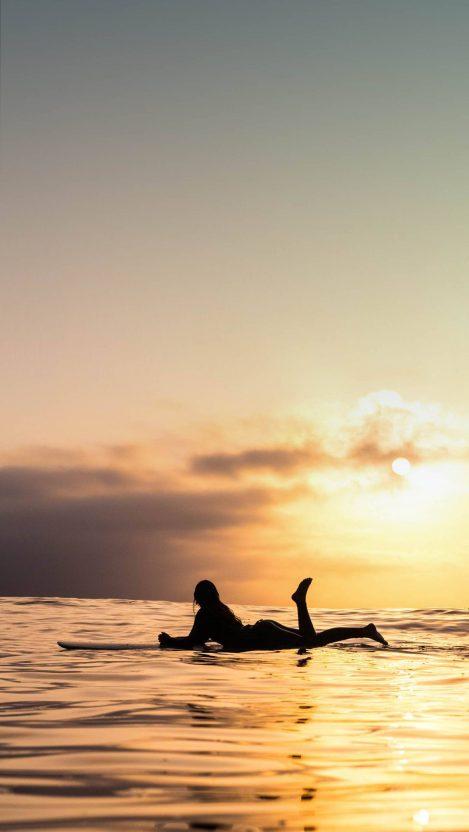 Sea Surfing Girl Sunset iPhone Wallpaper