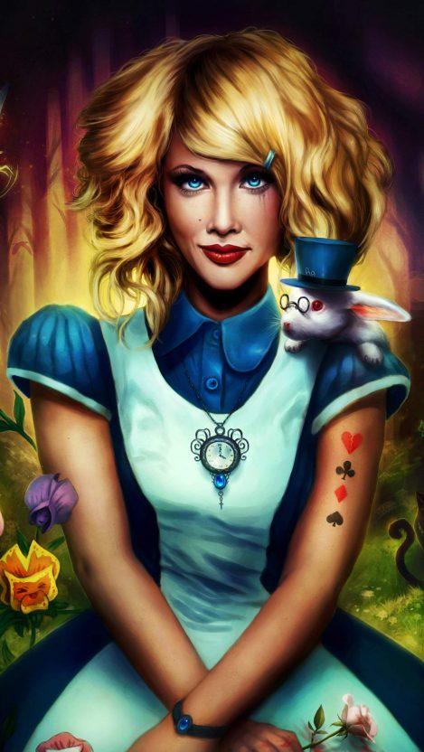 Alice in Wonderland Girl Art iPhone Wallpaper