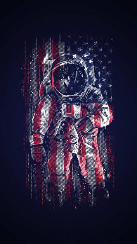 American Astronaut Flag iPhone Wallpaper