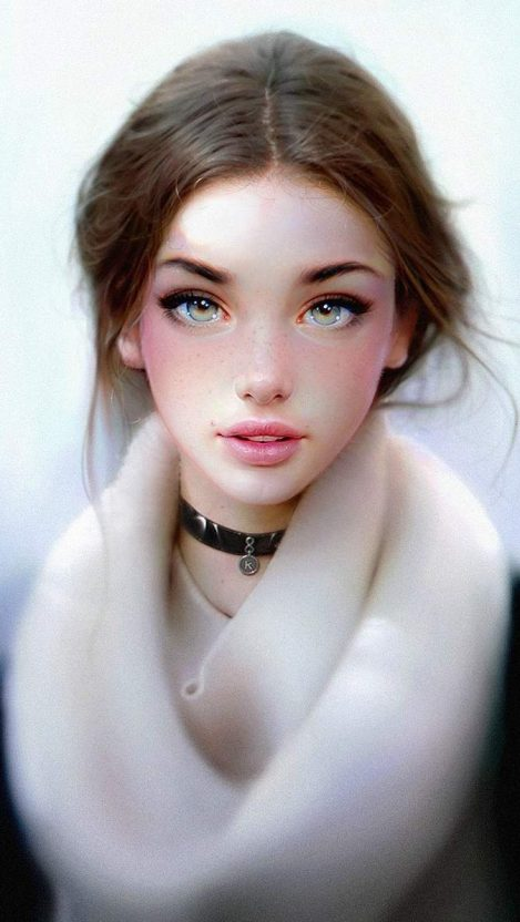 Beautiful Face Eyes White Brunette iPhone Wallpaper