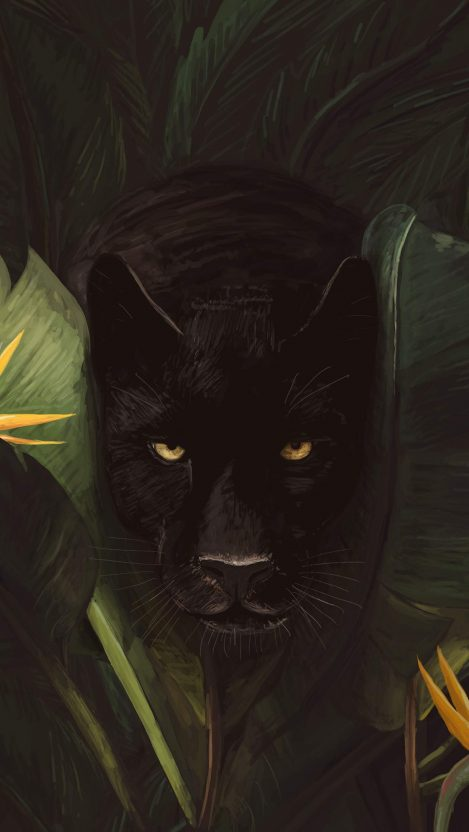 Black Panther in Jungle iPhone Wallpaper