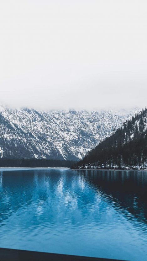 Blue Lake in Austria Winter iPhone Wallpaper