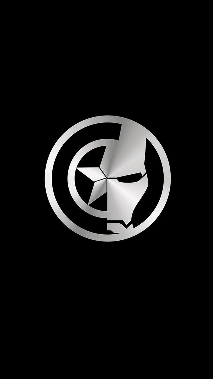 Captain America and Iron Man Symbol iPhone Wallpaper