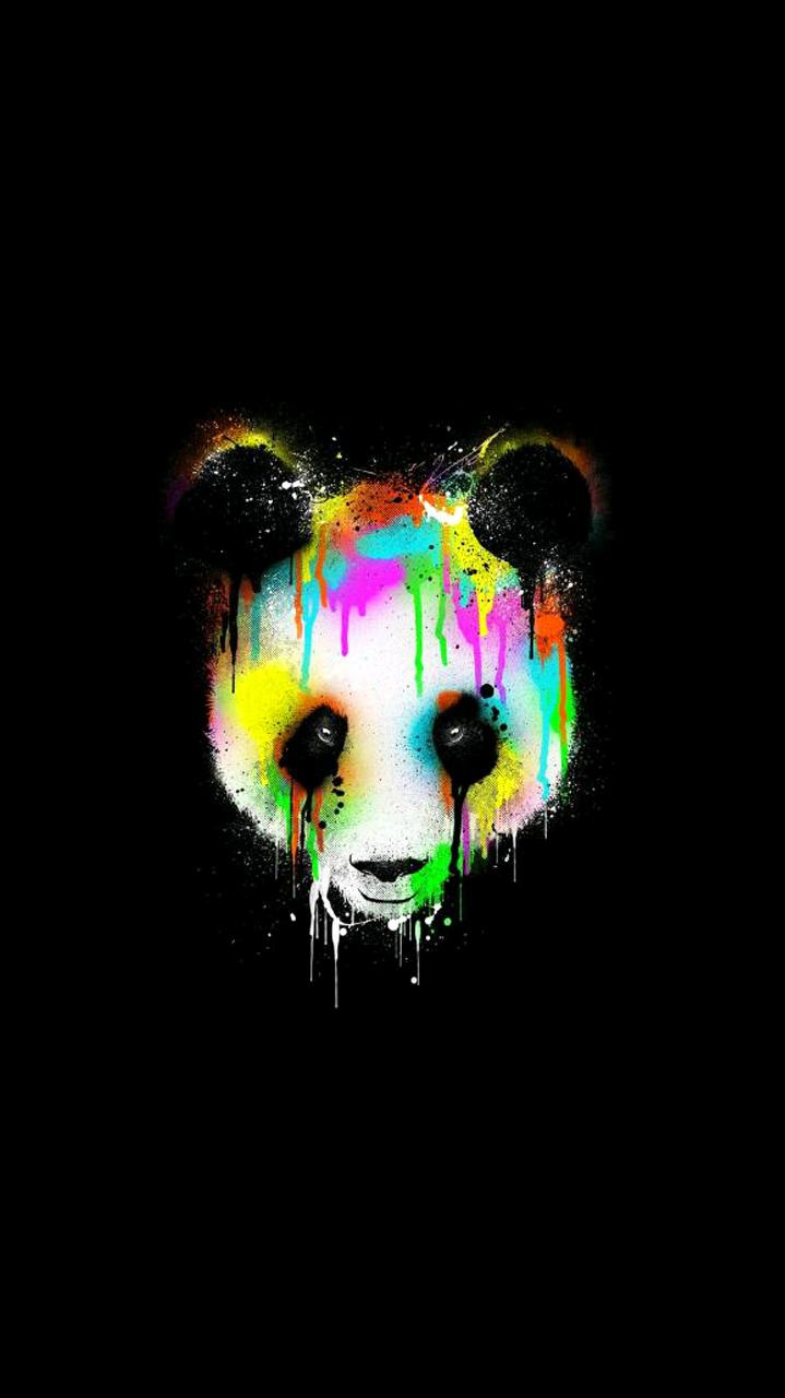 Colorful Panda Minimal iPhone Wallpaper