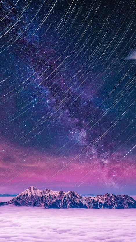 Days of future Snow Mountains Night Sky iPhone Wallpaper