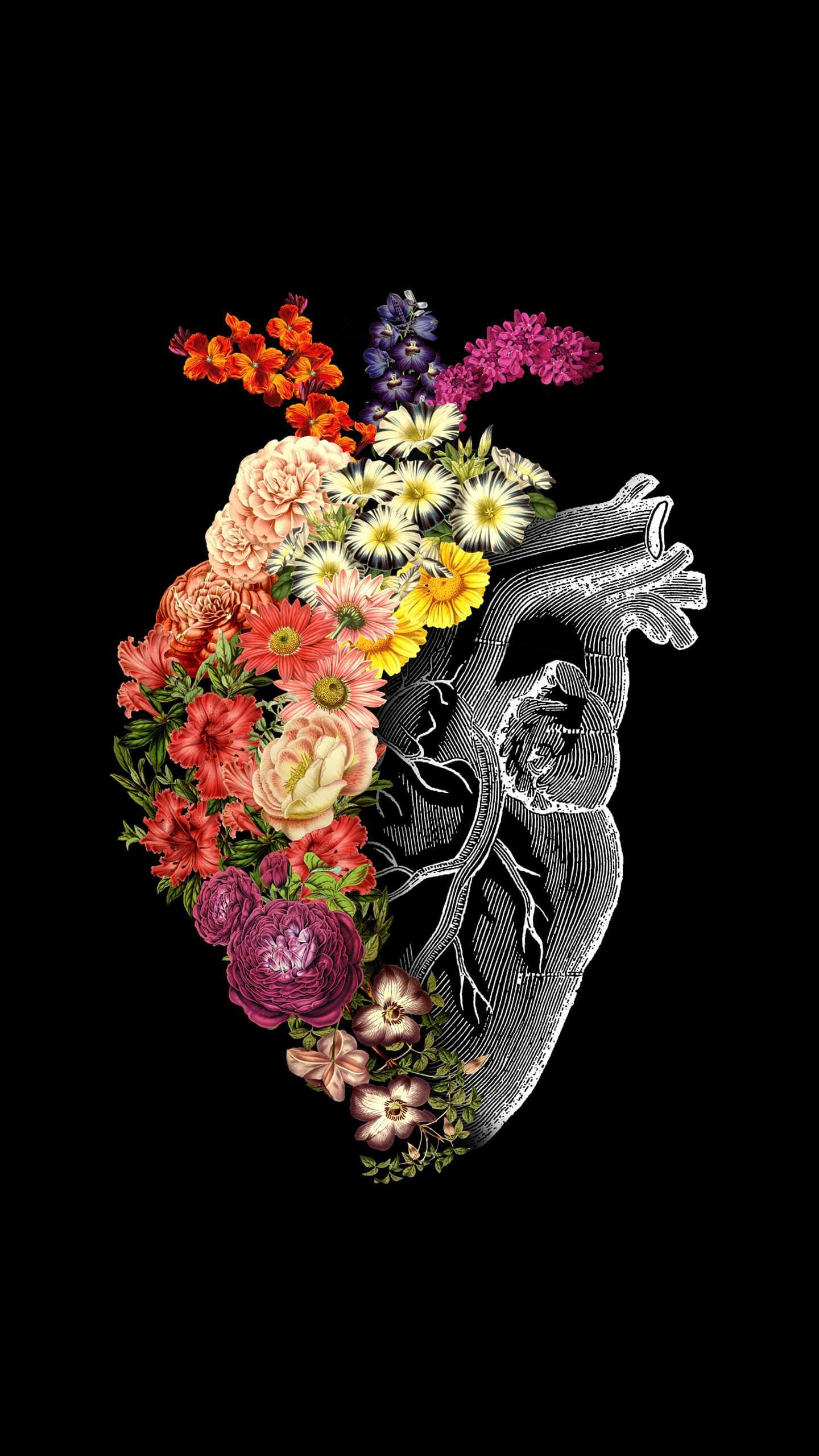 Flower Heart iPhone Wallpaper