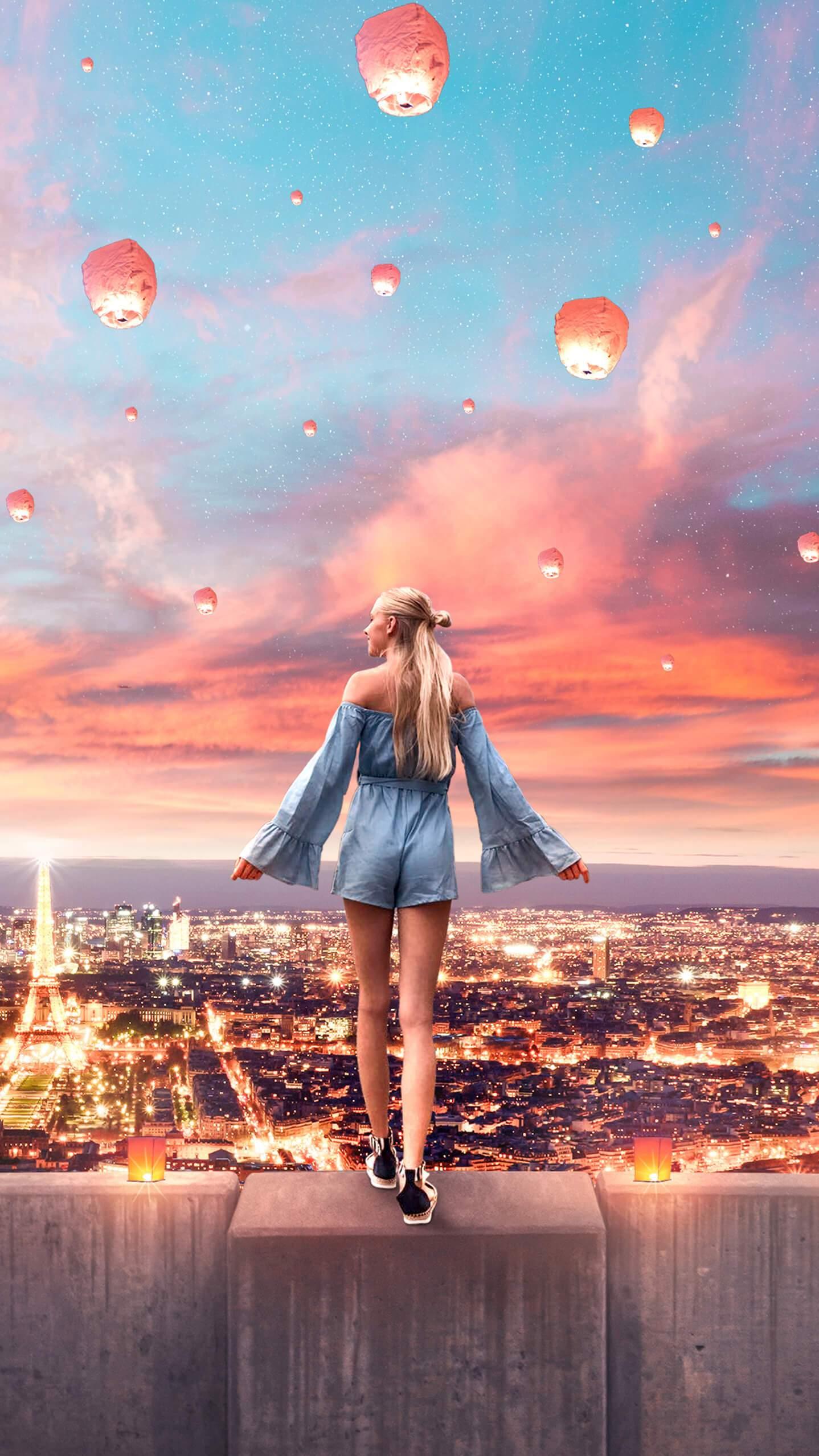 Girl in Paris iPhone Wallpaper