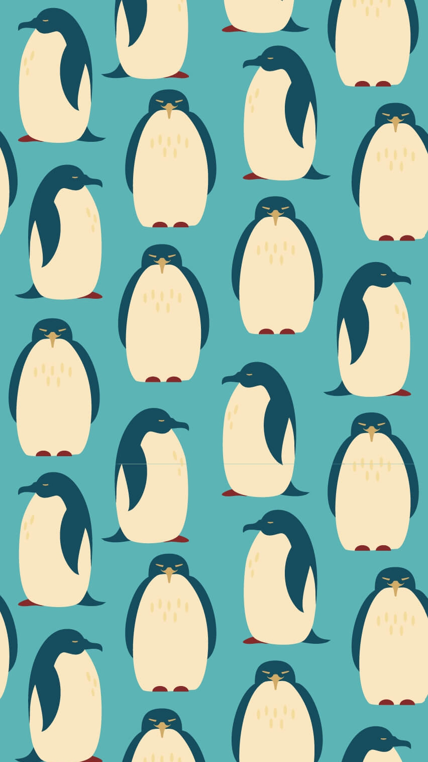 Happy Penguins Minimal iPhone Wallpaper
