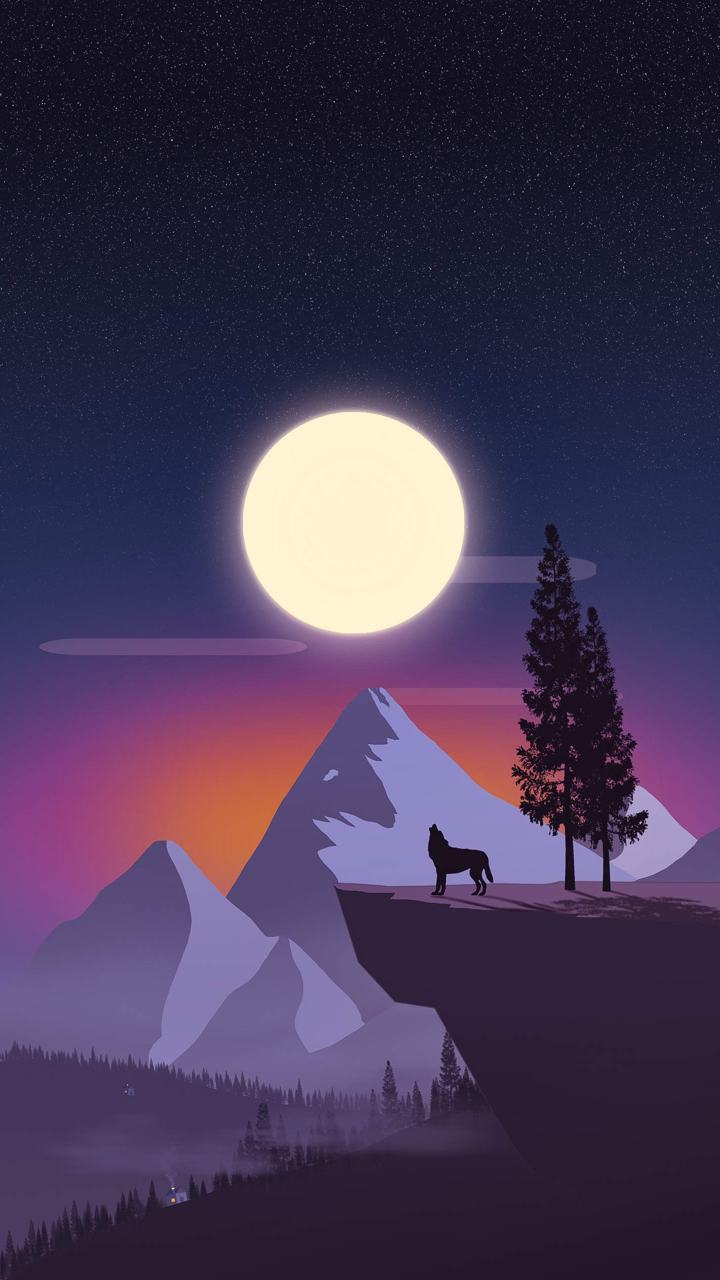 Lone Beast Night Moon iPhone Wallpaper