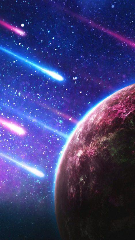 Meteors of Space iPhone Wallpaper