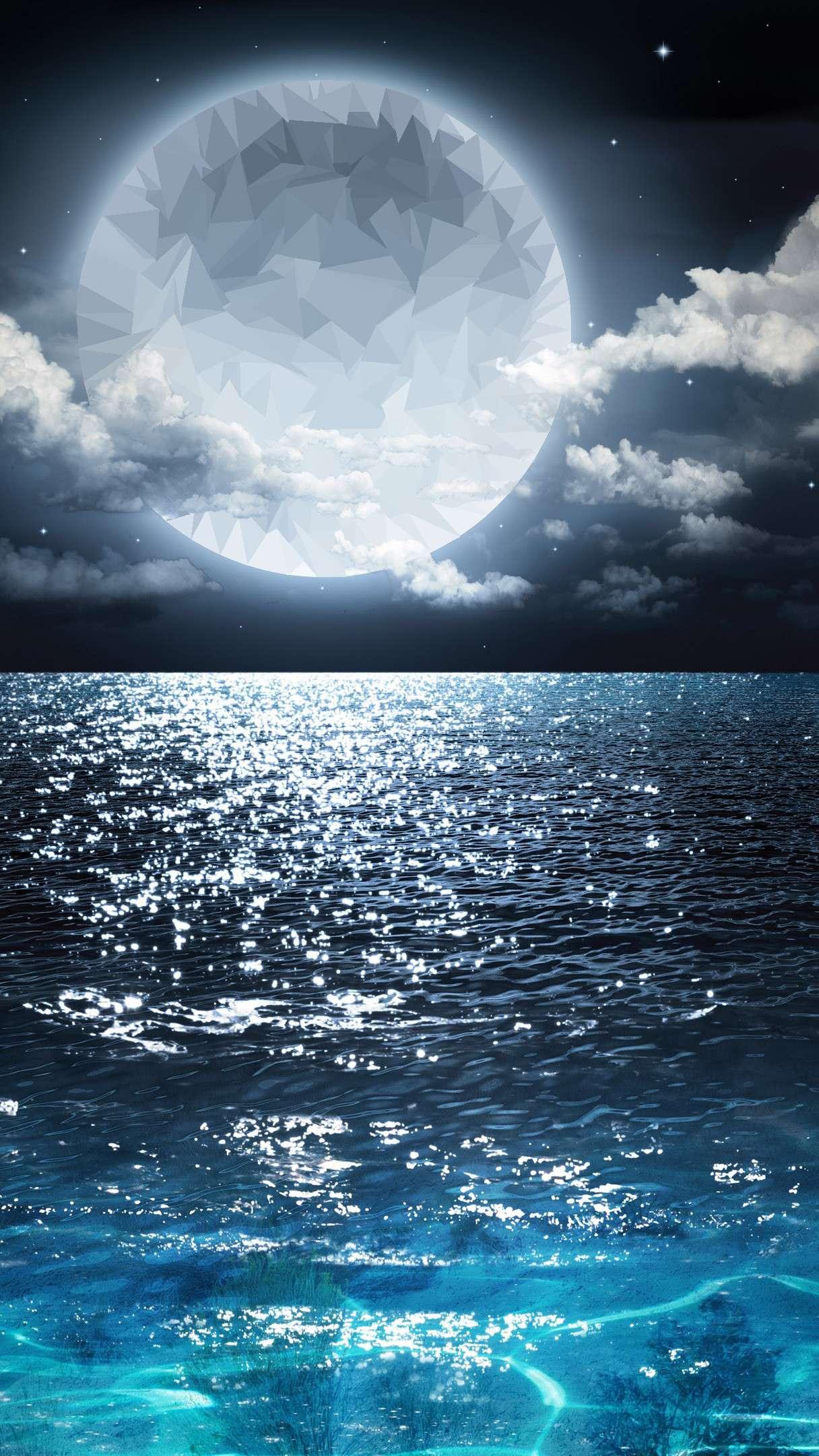 Moon of Sea Blue Water HD iPhone Wallpaper