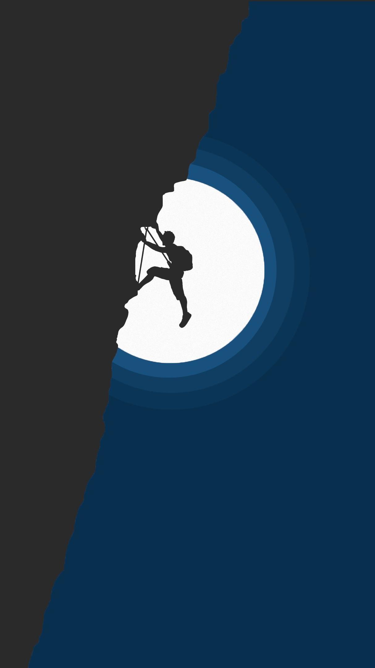 Mountain Climber Minimal iPhone Wallpaper