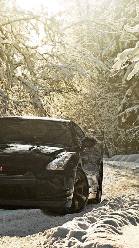 Nissan GTR Winter iPhone Wallpaper
