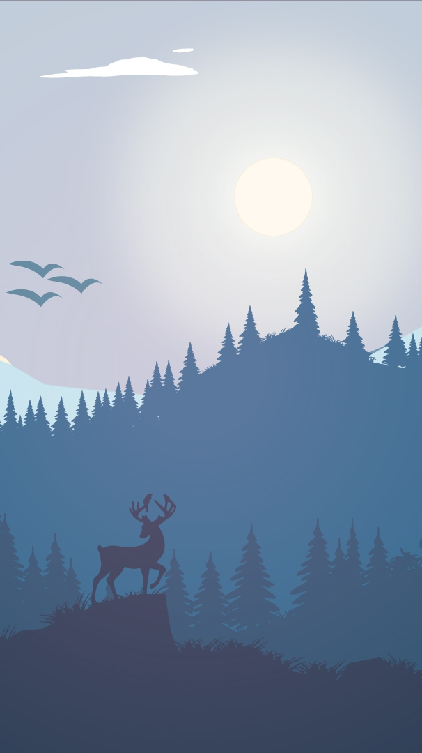 Reindeer Art Mountains Sun iPhone Wallpaper