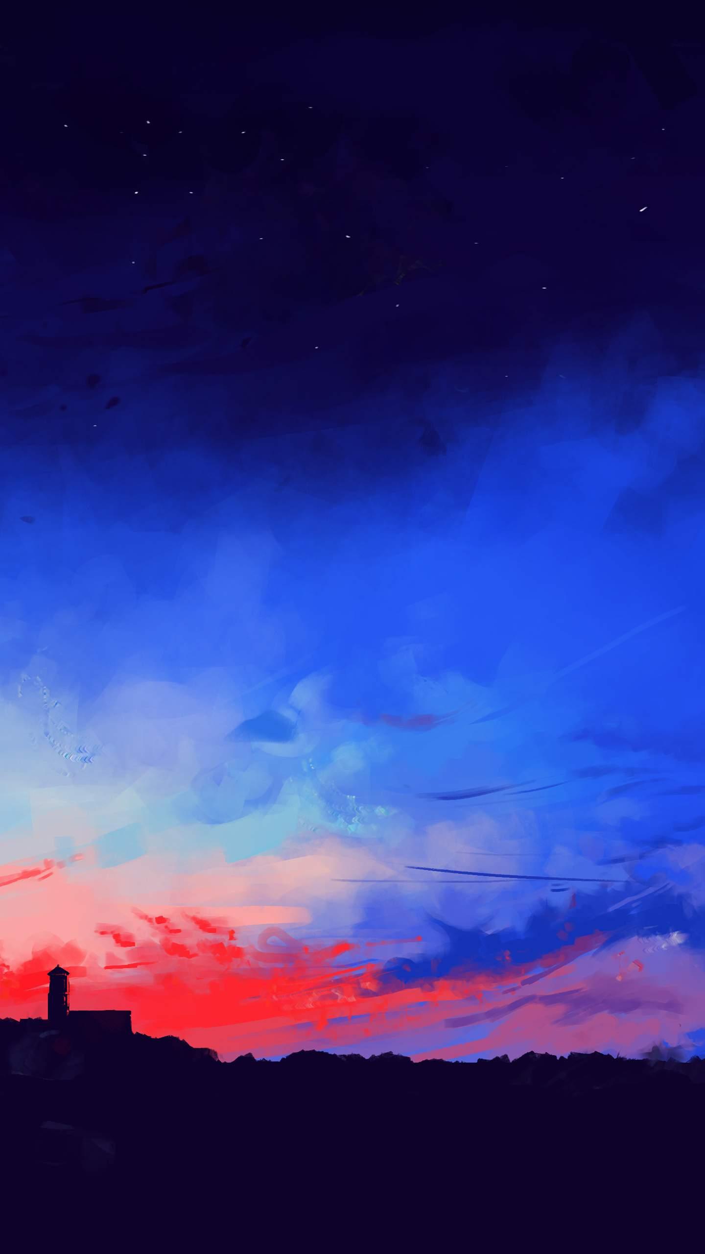 Sunset Painting Horizon iPhone Wallpaper
