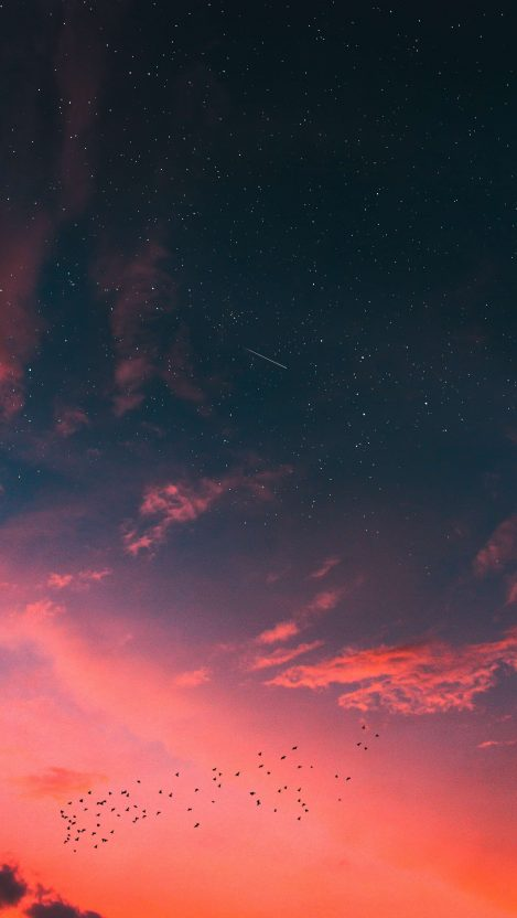 Sunset Sky Stars Clouds Meteor of Space iPhone Wallpaper