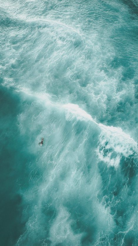 Surfing in Sea Waves iPhone Wallpaper