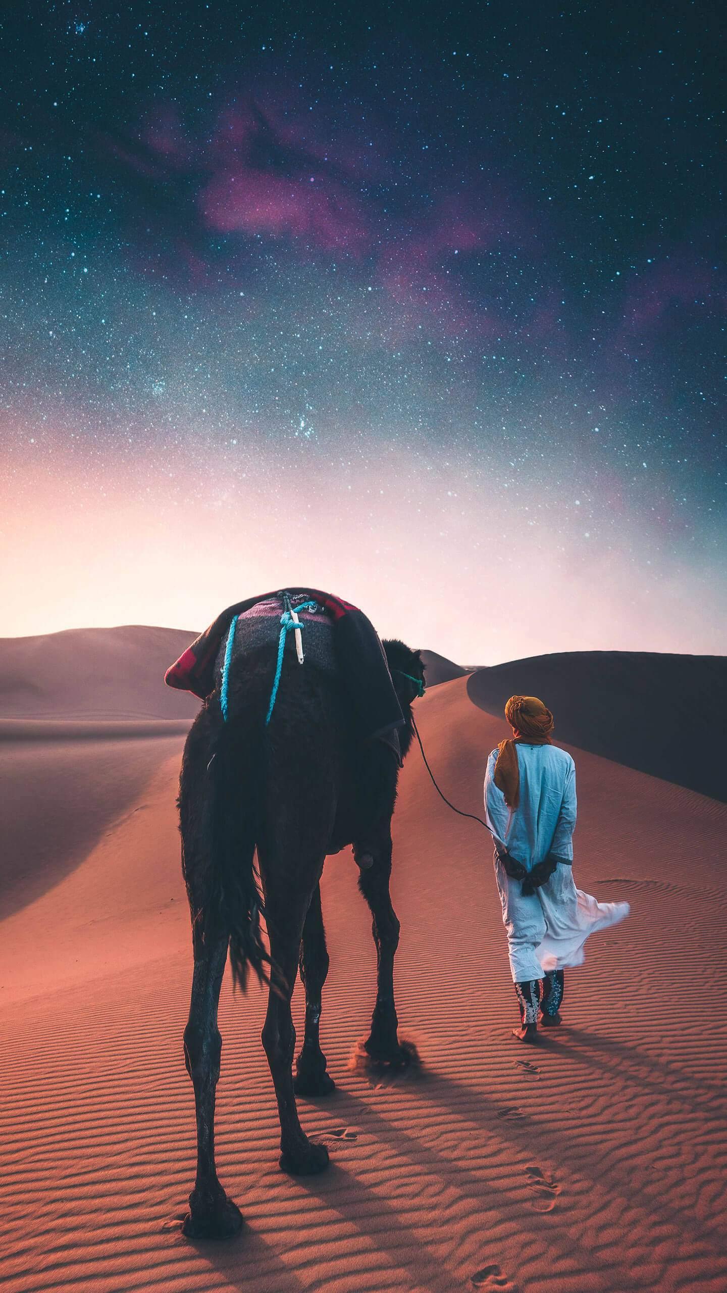 The Starry Sahara Desert iPhone Wallpaper