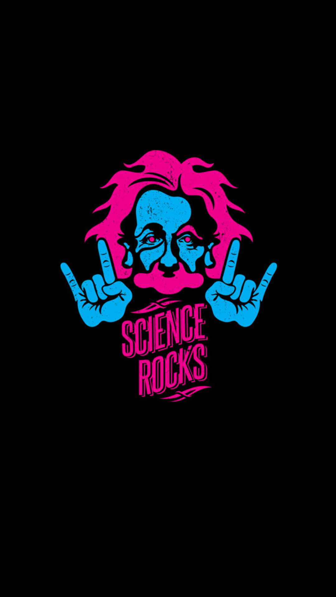 Albert Einstein Science Rocks Minimal iPhone Wallpaper