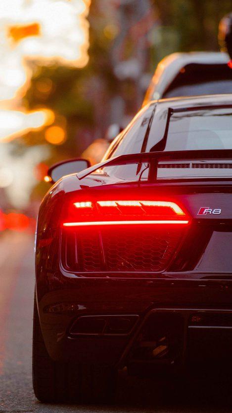 Audi R8 Back View iPhone Wallpaper