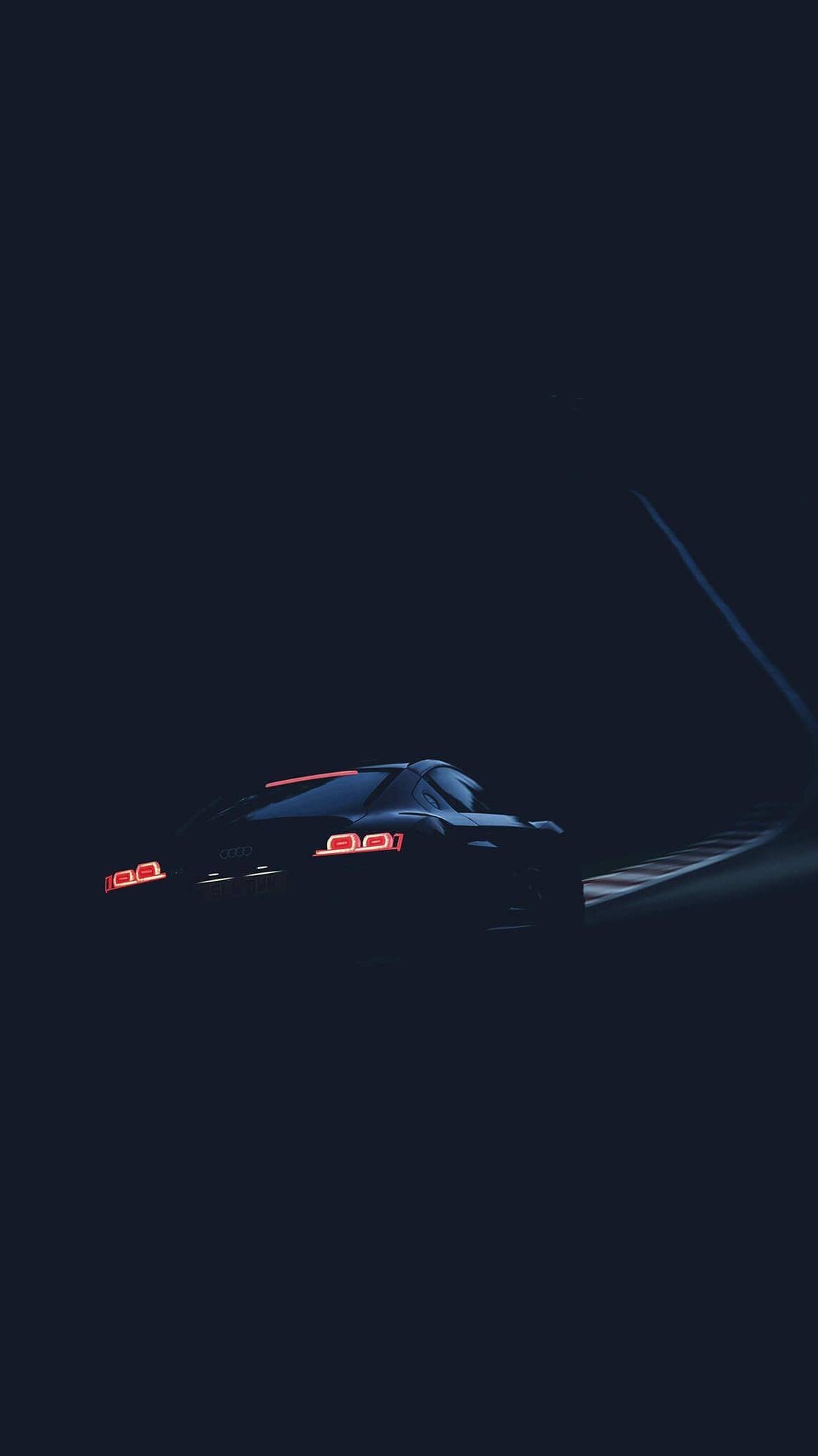 Audi R8 in Dark Night Road iPhone Wallpaper