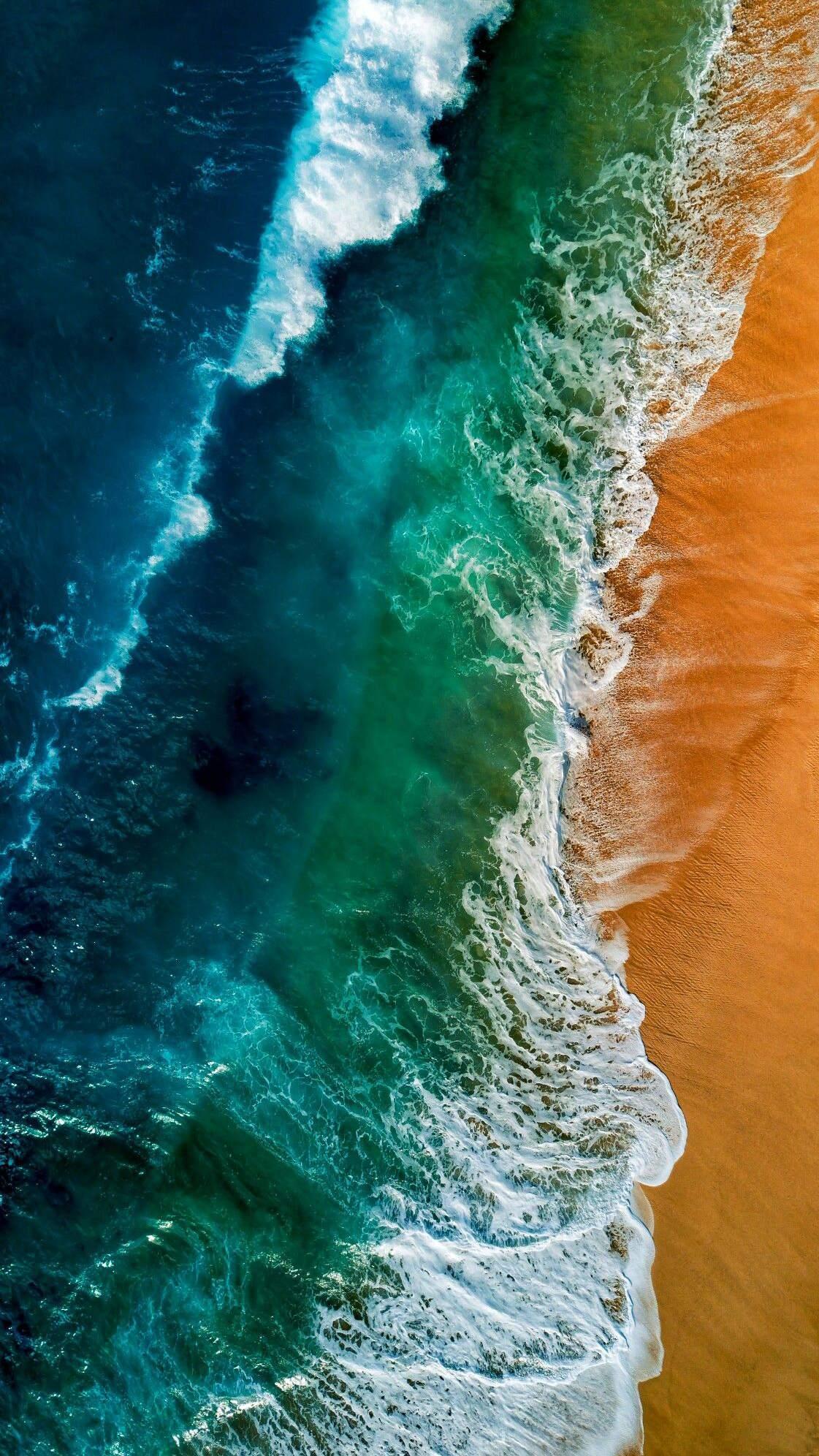 Beach Ocean Waves Sky View iPhone Wallpaper