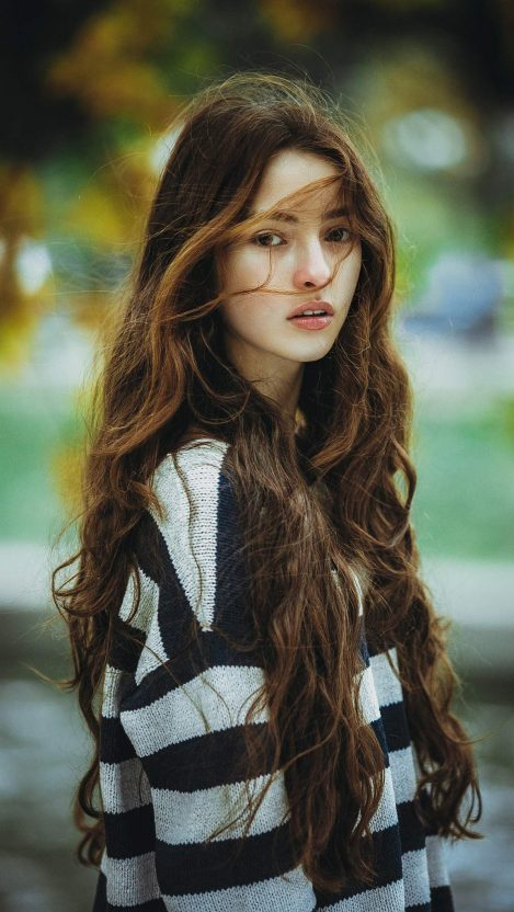 Beautiful Long Brown Hair Girl iPhone Wallpaper