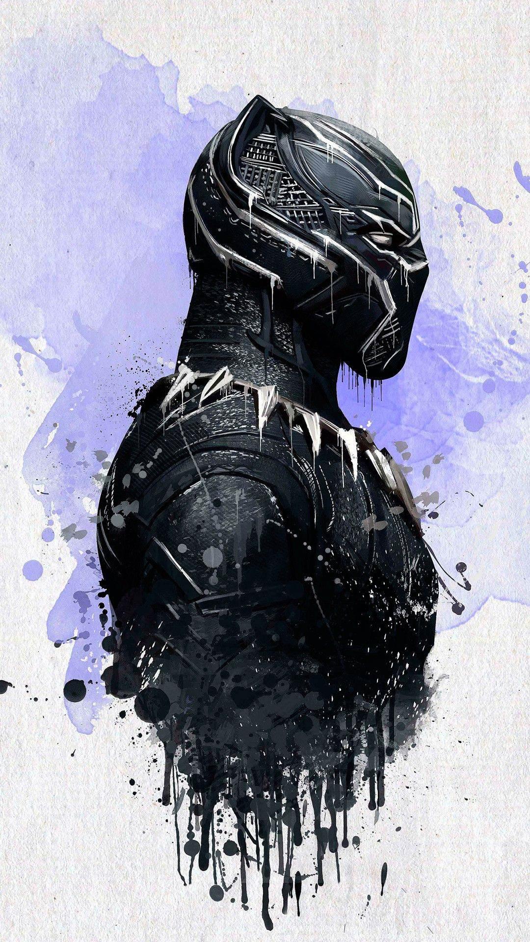 Black Panther Painting Artwork iPhone Wallpaper