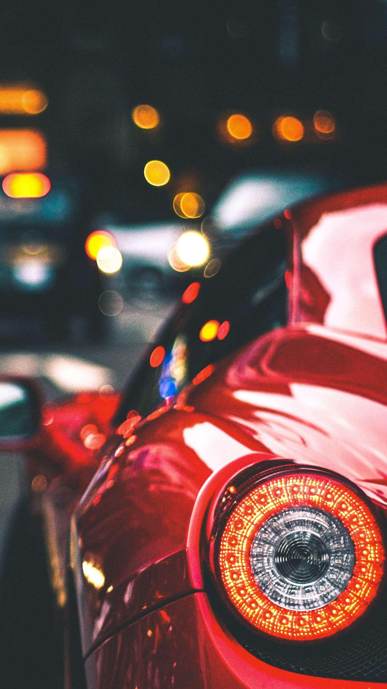 Ferrari Car Back Light iPhone Wallpaper