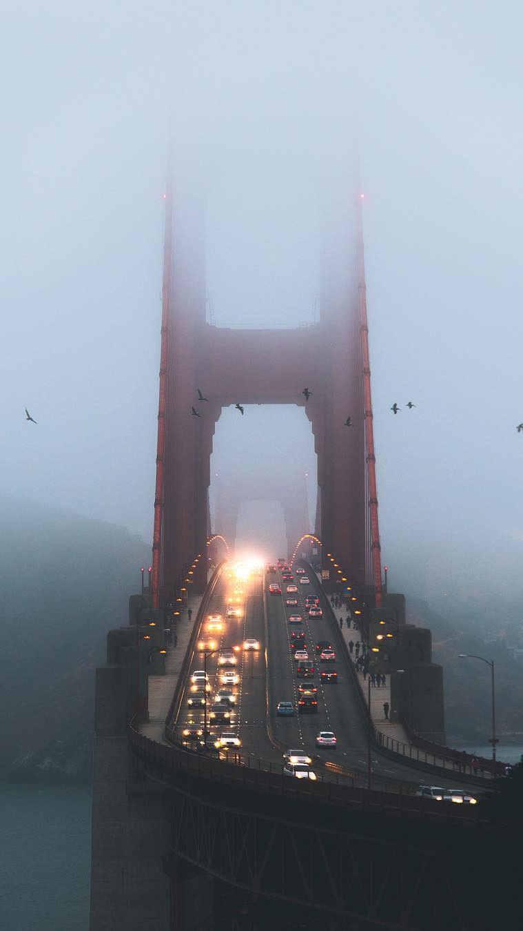 Golden Gate Bridge Traffic Mist iPhone Wallpaper