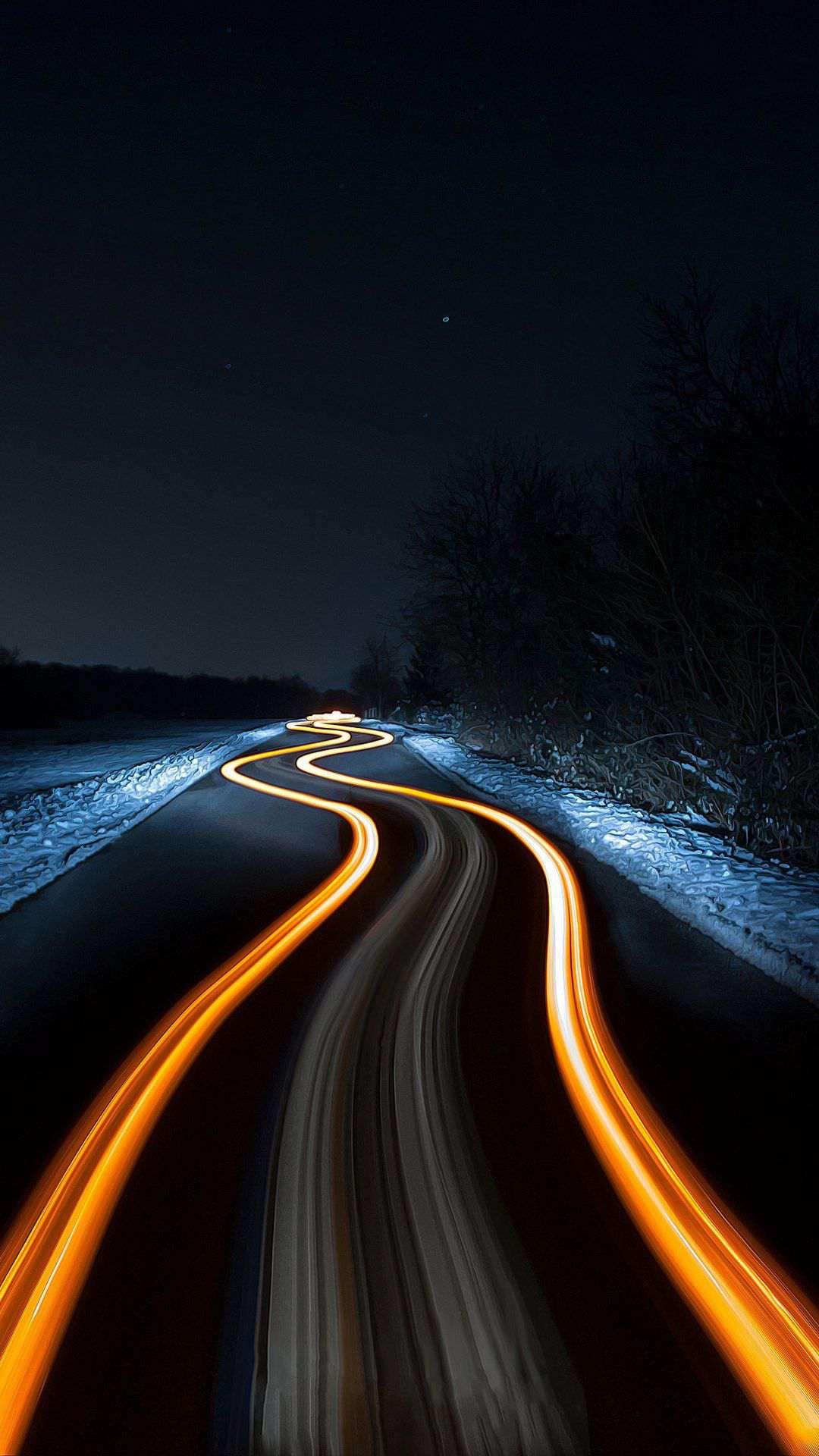 Long Exposure Night Light Road iPhone Wallpaper