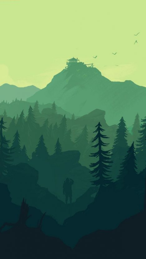 Man in Forest Minimal iPhone Wallpaper