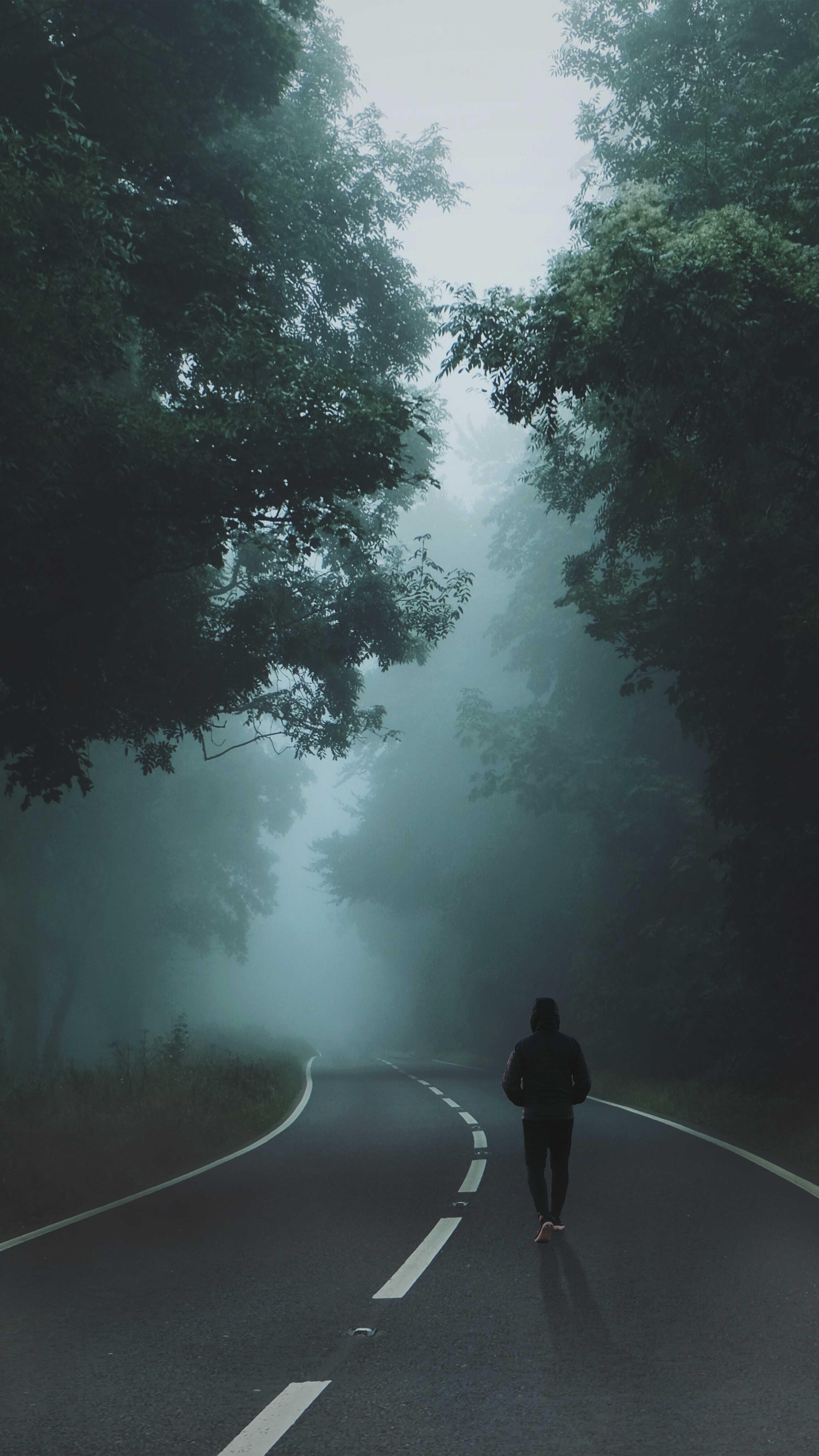 Man on Road Mist Nature iPhone Wallpaper