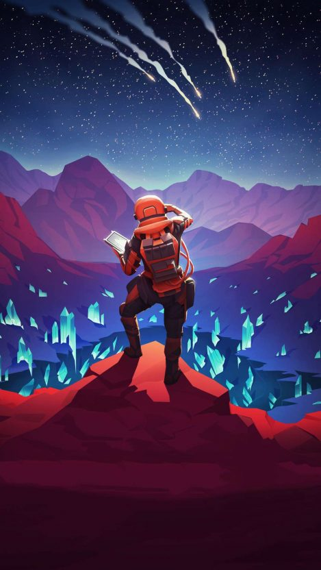 Mars Treasure Astronaut iPhone Wallpaper