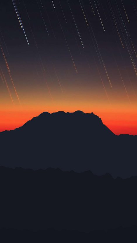 Meteors From Sky Mountain iPhone Wallpaper