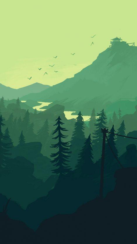 Minimal Forest Mountain Art iPhone Wallpaper