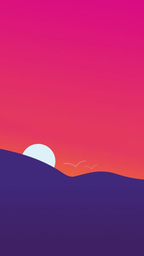 Minimal Mountain Sunset iPhone Wallpaper