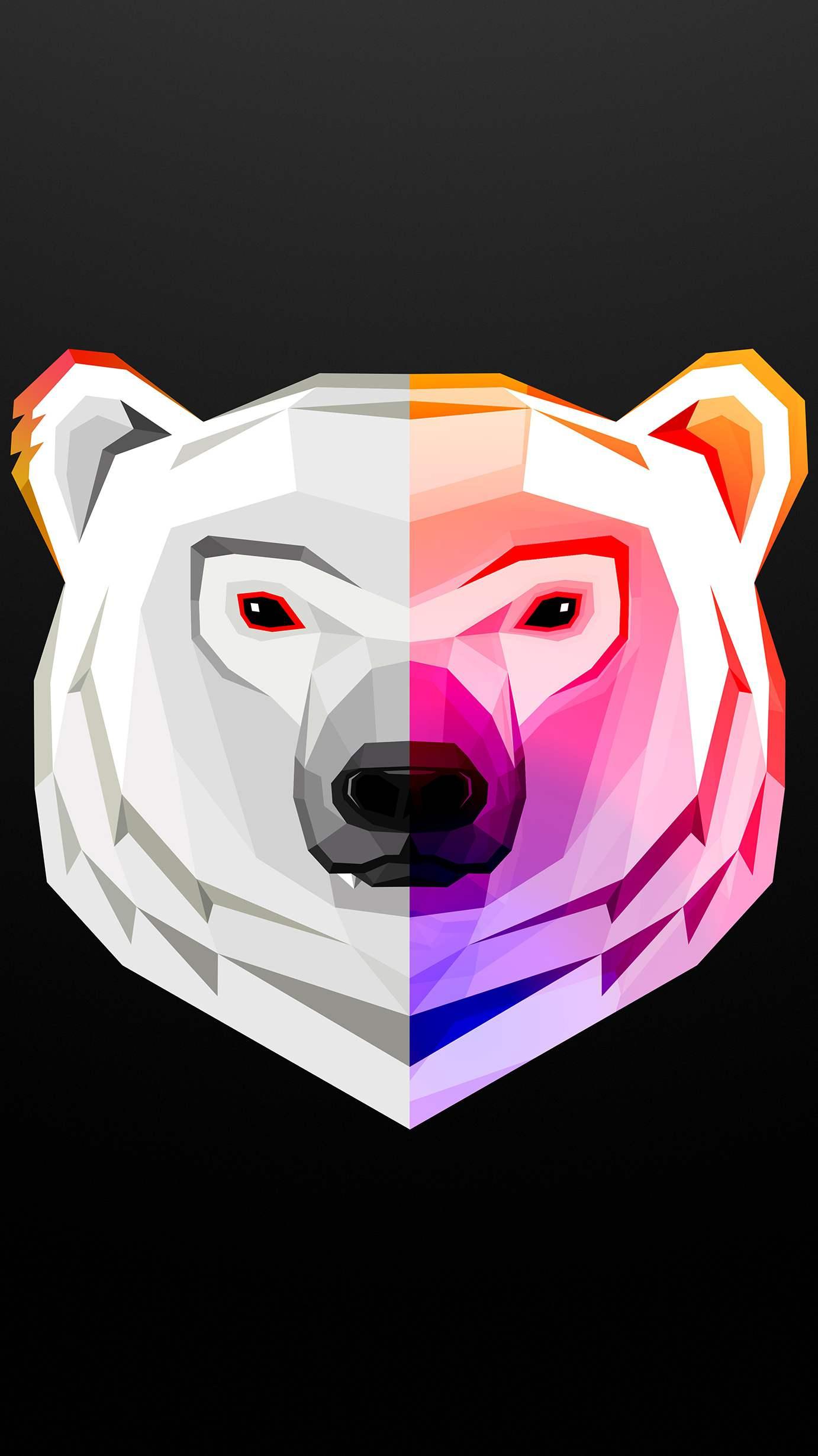 Minimal Polar Bear Art iPhone Wallpaper